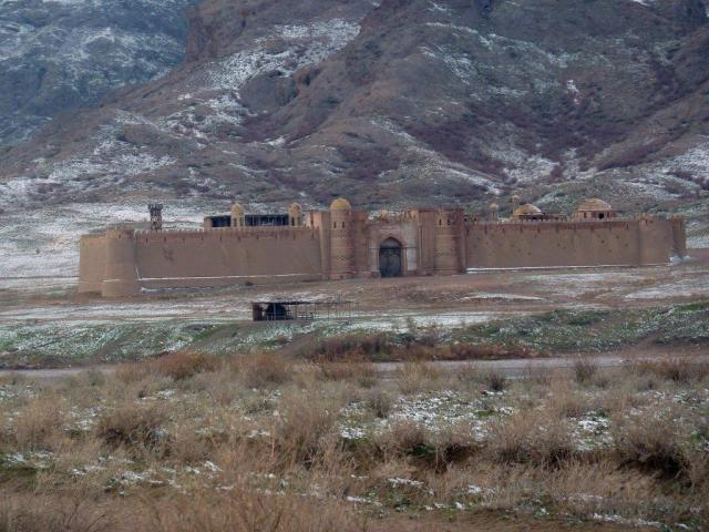Film set fort on the banks of Ili River, Kazakhstan