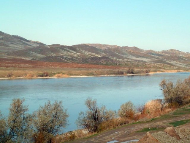 View downstream from Tamgaly on Ili River, Kazakhstan Oct 2014