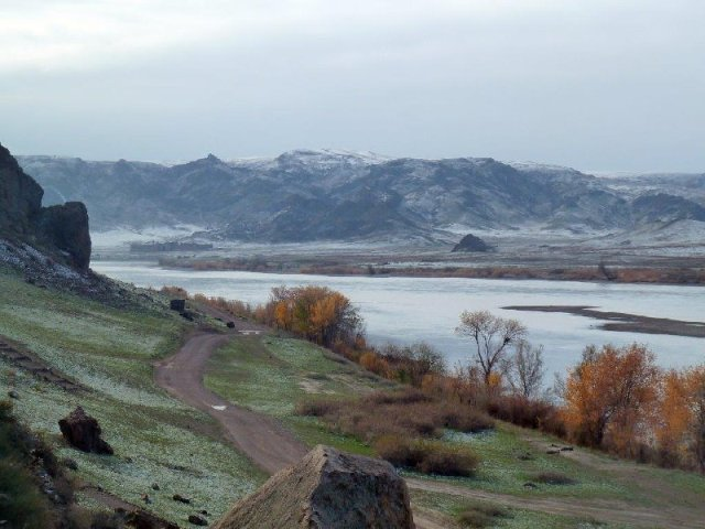 View upstream from Tamgaly on Ili River, Kazakhstan Oct 2014