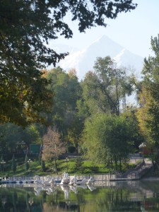 Almaty Gogol Park in autumn with Tienshan mountains