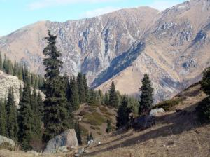 High Mountains near Almaty Big Lake, Ili-Alatau National Park, Kazakhstan, October 2014