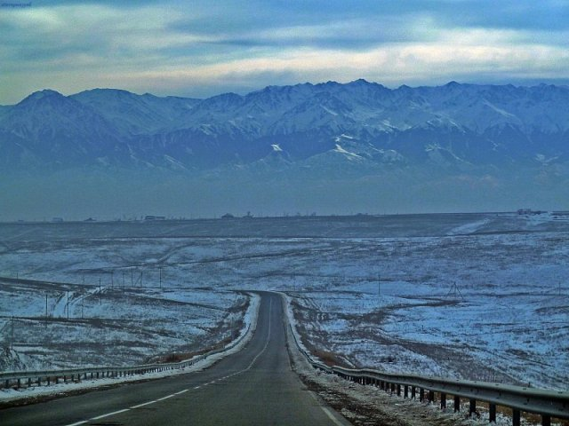 Tien Shan Mountains over Kazakhstan Steppes Dec 2014