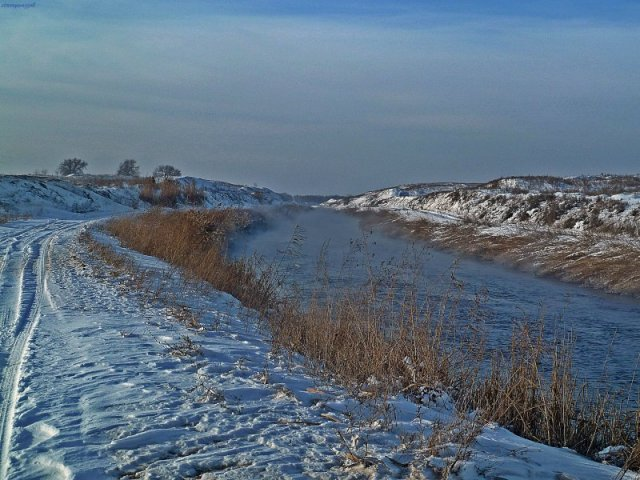 Canal city waste water outflow near Almaty Kazakhstan Dec 2014